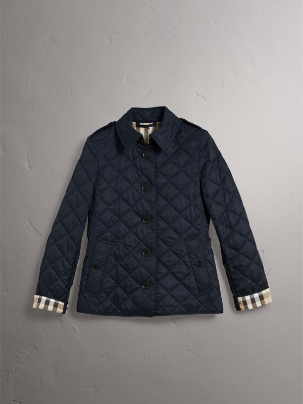 Diamond Quilted Jacket in Navy - Women | Burberry - cell image 3