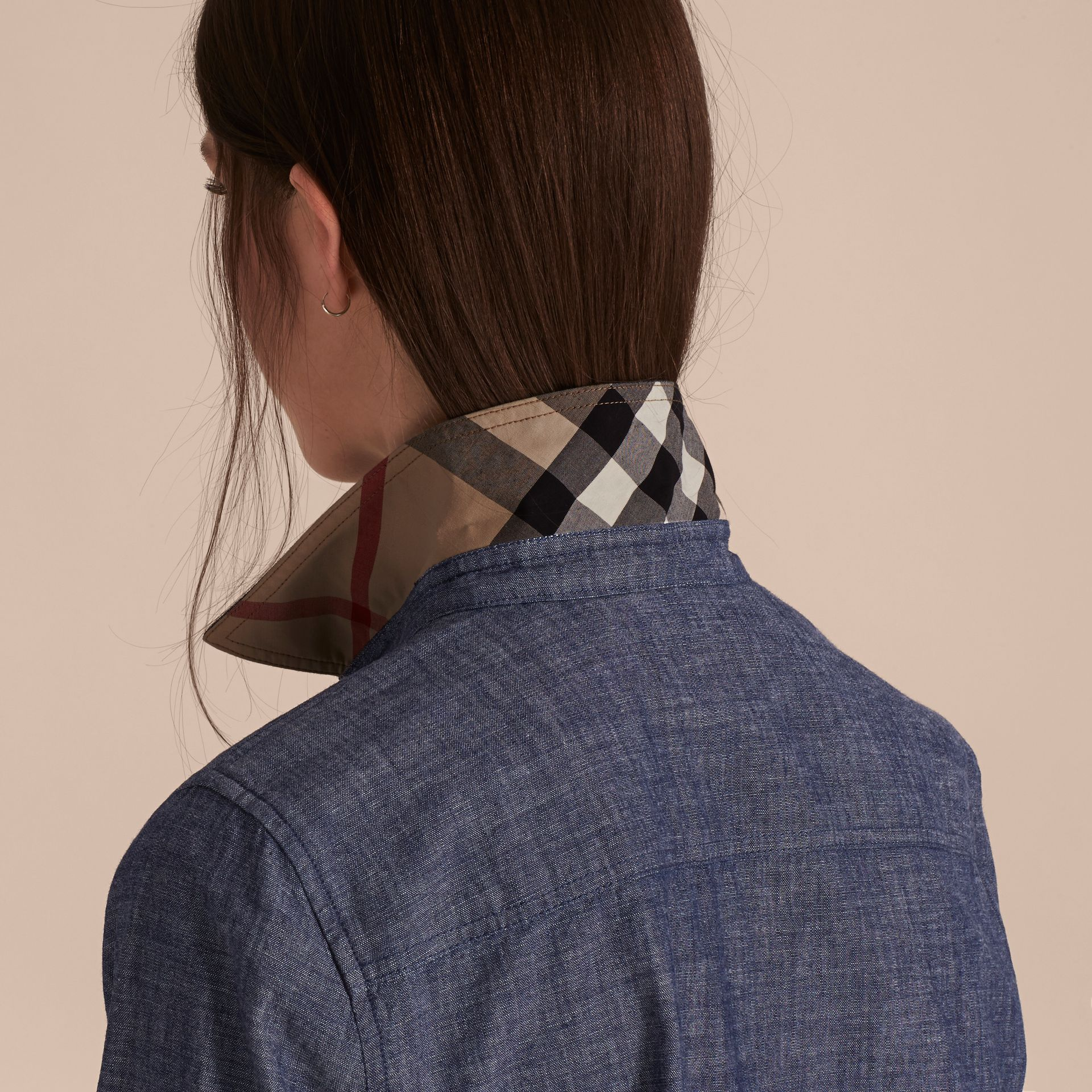 Light indigo Check Detail Denim Shirt - gallery image 5