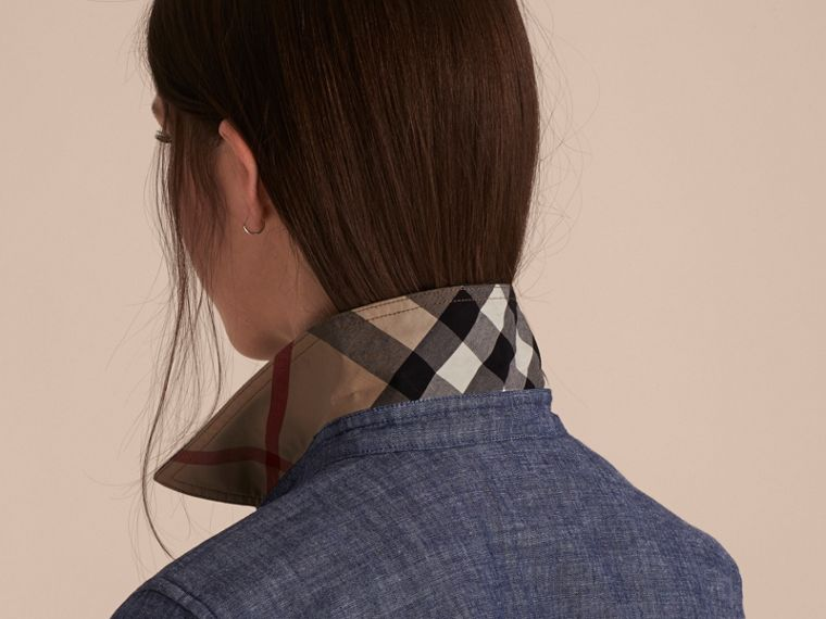 Check Detail Denim Shirt - Women | Burberry - cell image 4