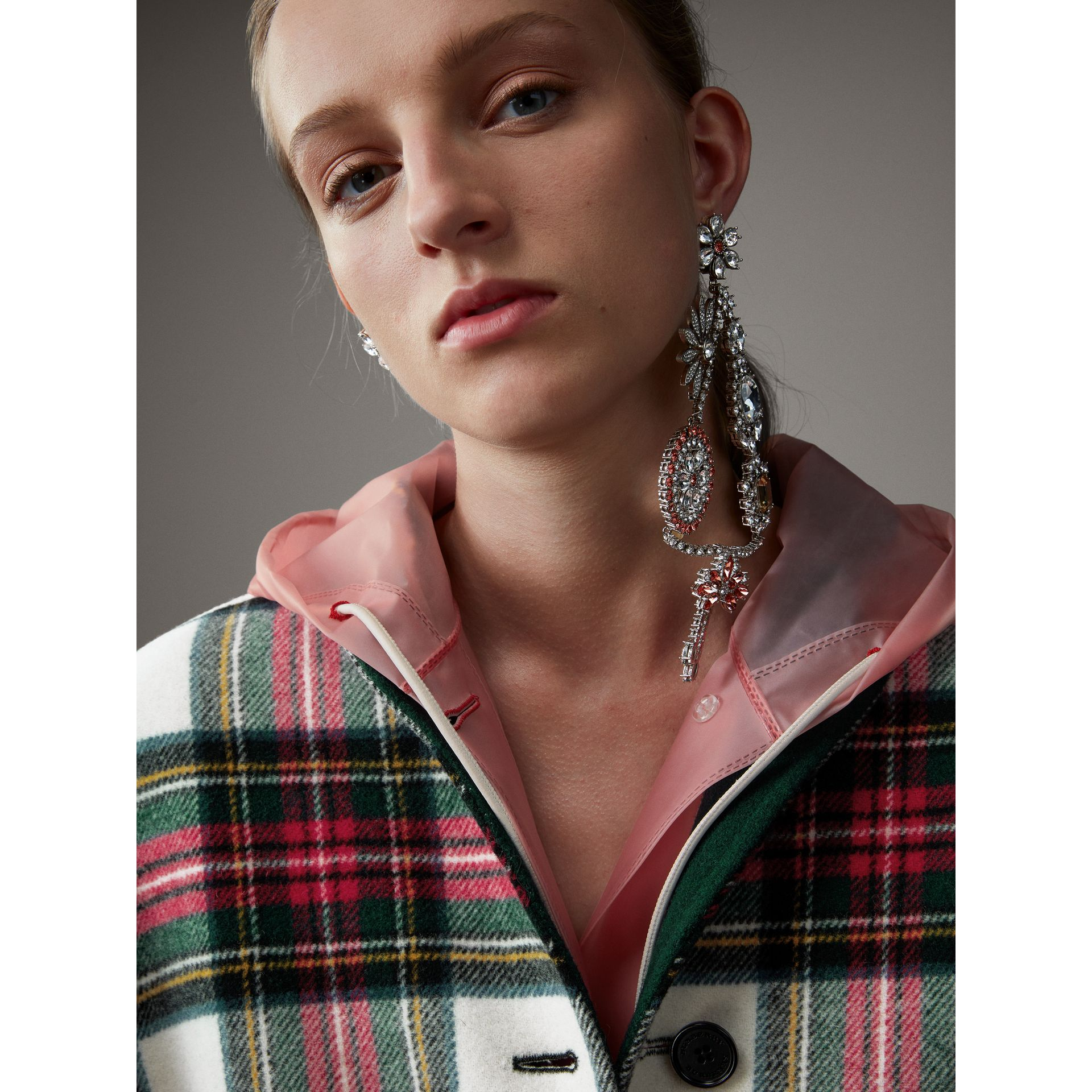 Reversible Tartan Oversized Poncho in Natural White/bottle Green - Women | Burberry - gallery image 5