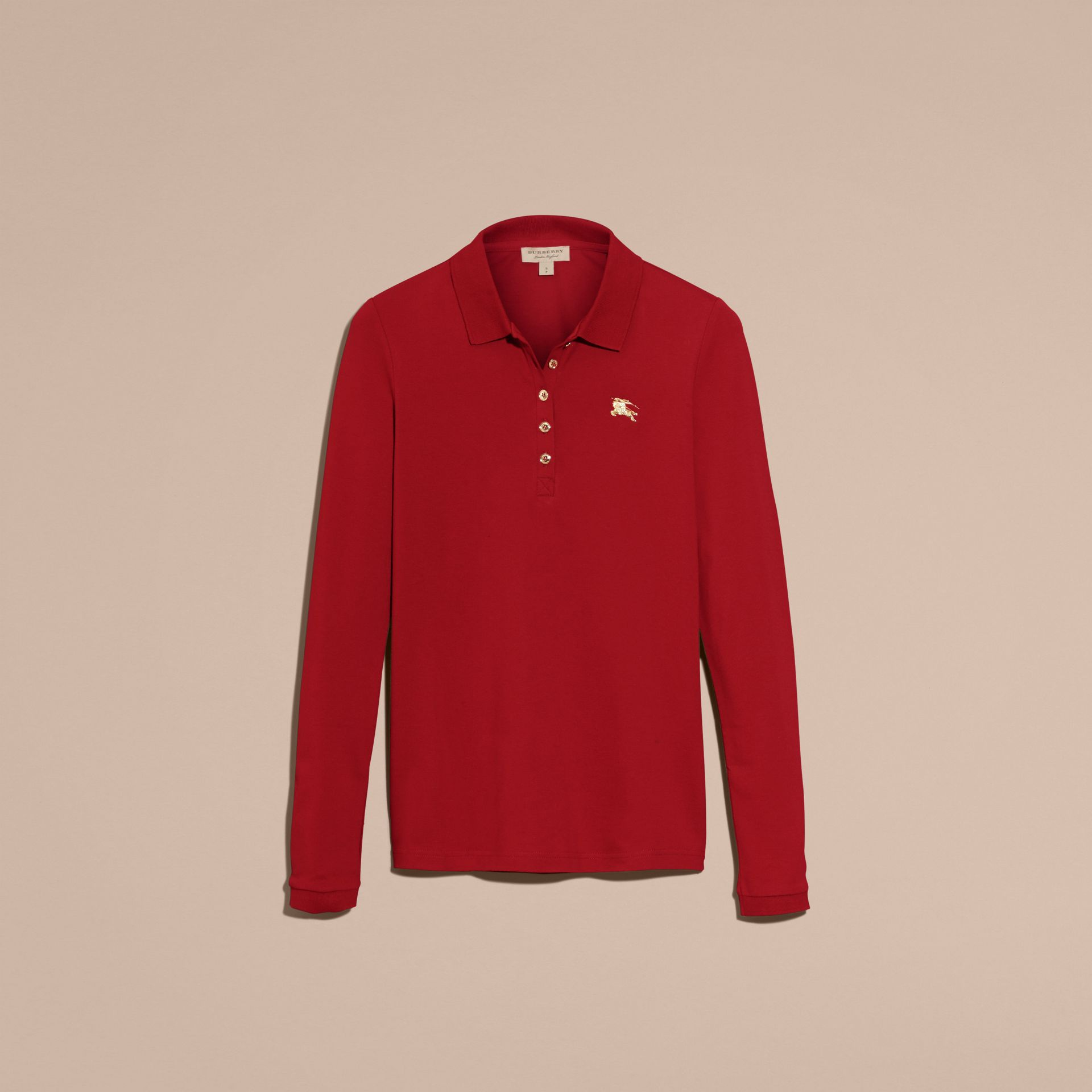 Long-sleeved Stretch Cotton Piqué Polo Shirt in Military Red - gallery image 4