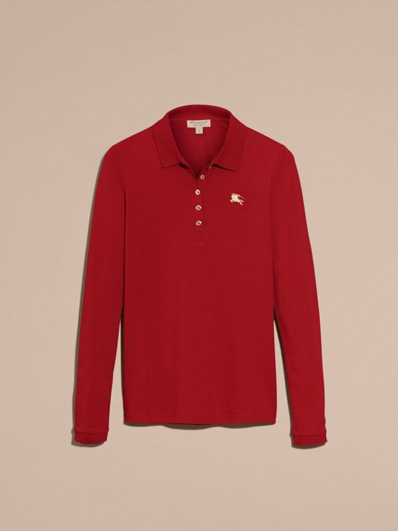 Long-sleeved Stretch Cotton Piqué Polo Shirt in Military Red - cell image 3