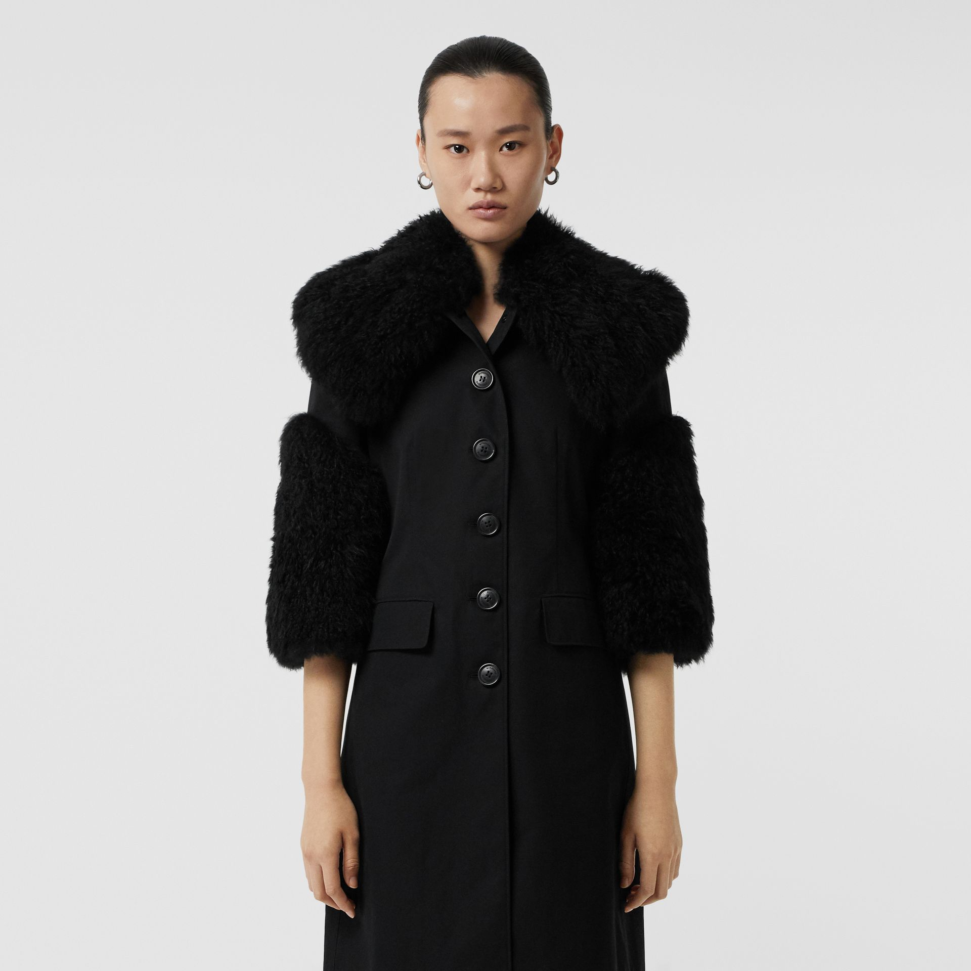 Goat Hair Trim Cotton Gabardine Coat in Black - Women | Burberry - gallery image 7