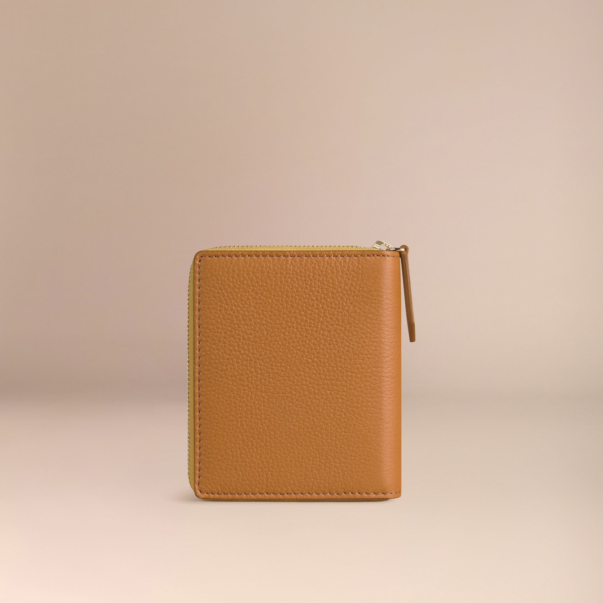Ziparound Grainy Leather Mini Notebook in Ochre Yellow | Burberry - gallery image 4