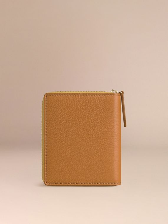 Ziparound Grainy Leather Mini Notebook in Ochre Yellow | Burberry - cell image 3