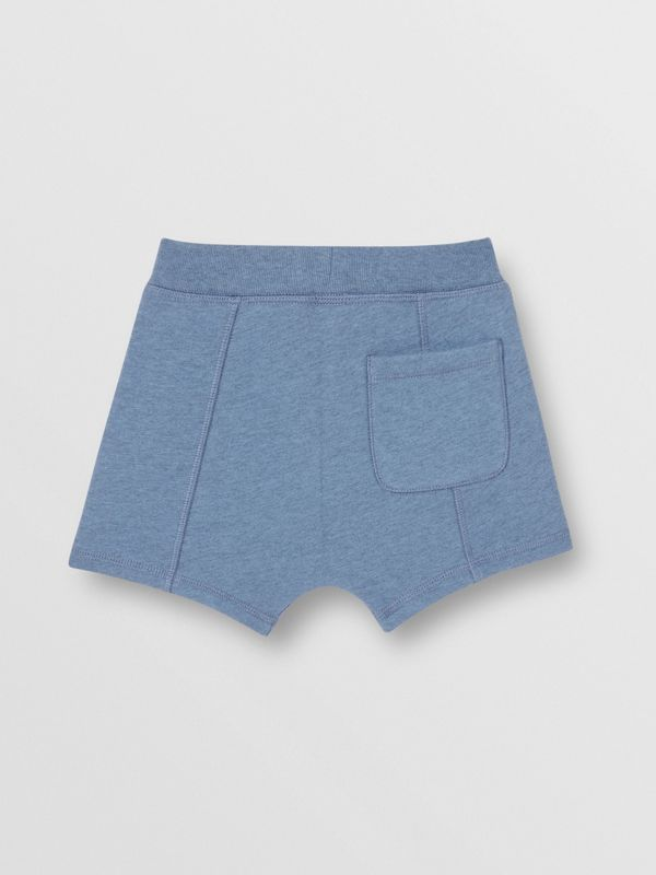 Patch Detail Cotton Drawcord Shorts in Dusty Blue - Children | Burberry - cell image 3
