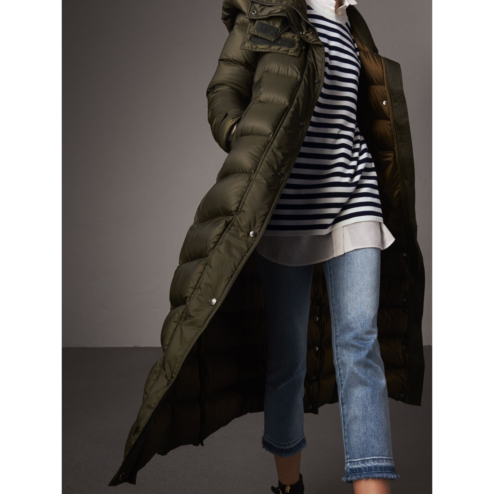 Detachable Hood Long Down-filled Puffer Coat in Olive - Women | Burberry - gallery image 1