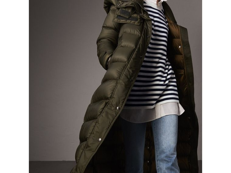 Detachable Hood Long Down-filled Puffer Coat in Olive - Women | Burberry - cell image 1