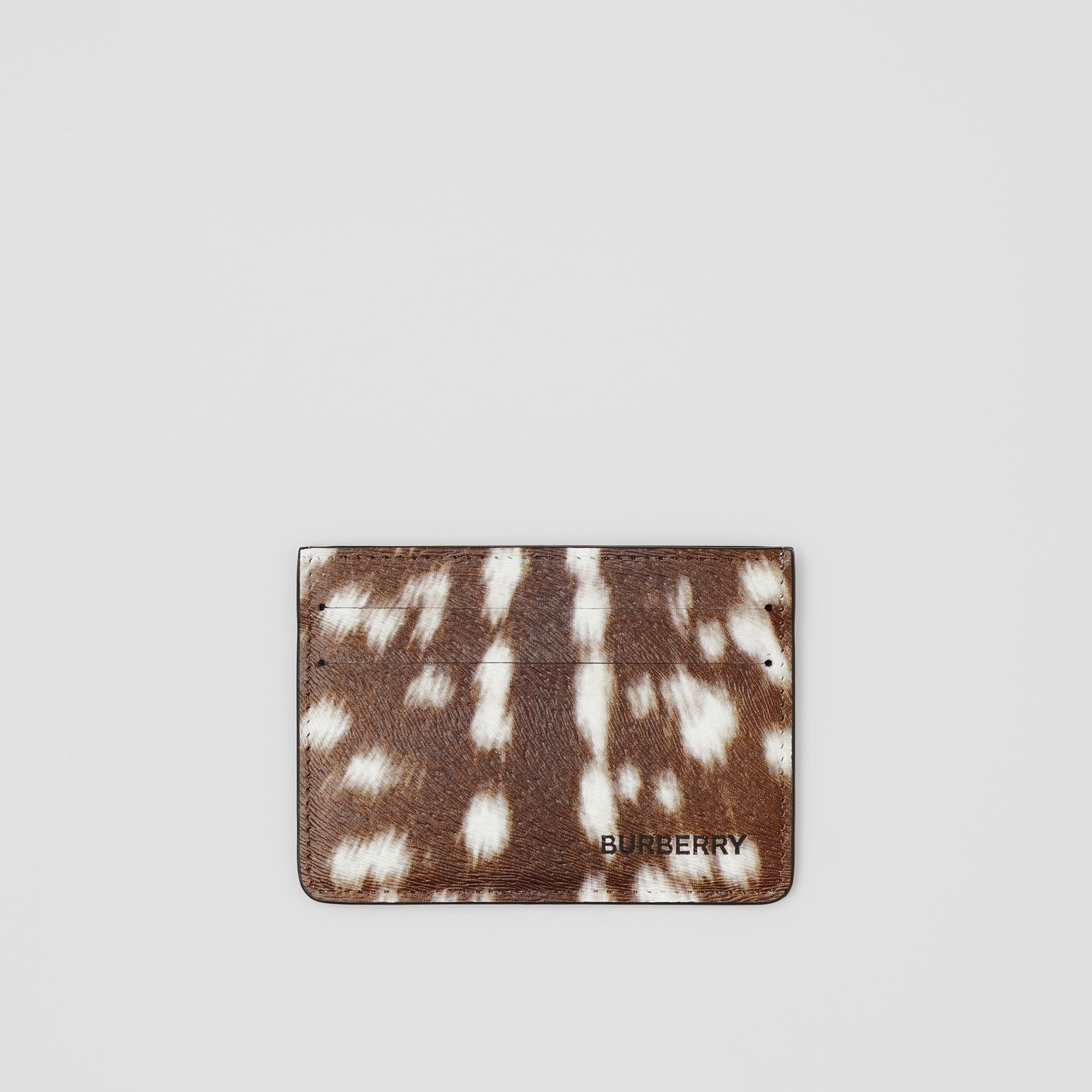 Deer Print Leather Card Case in Tan/white | Burberry - gallery image 0