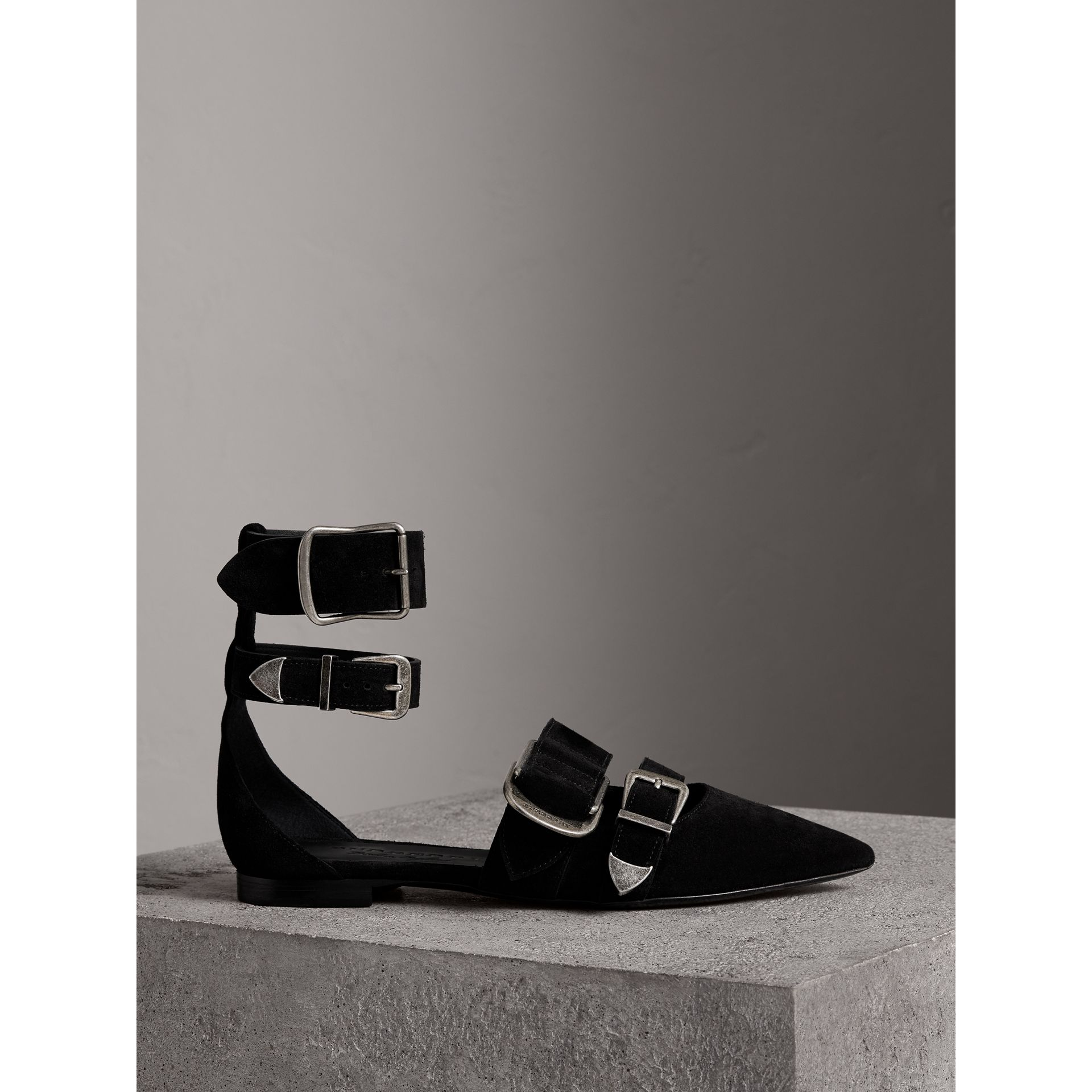Buckle Detail Suede Point-toe Flats in Black - Women | Burberry Australia - gallery image 4