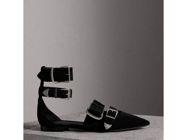 Buckle Detail Suede Point-toe Flats in Black - Women | Burberry - cell image 4