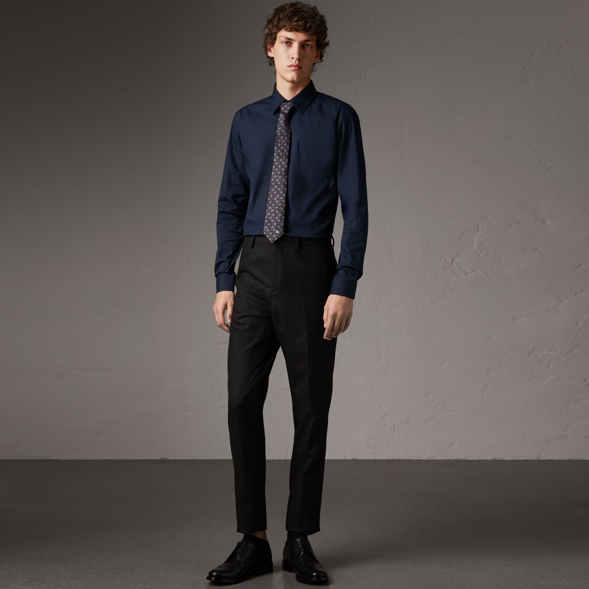 Slim Fit Stretch Cotton Shirt in Navy - Men | Burberry - gallery image 0