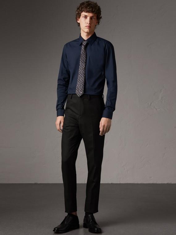 Узкая рубашка из эластичного хлопка (Темно-синий)
