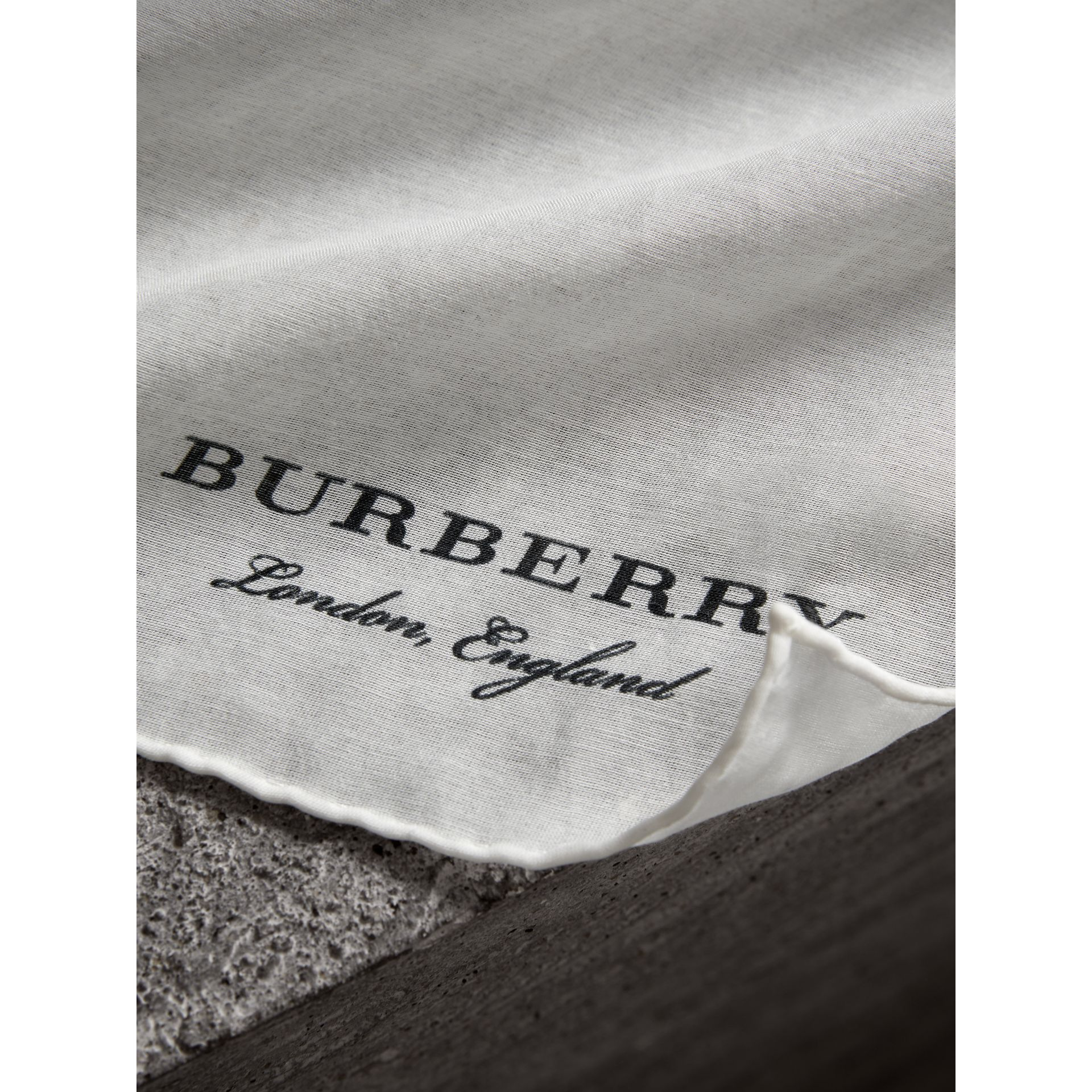 Cotton Silk Pocket Square in White - Men | Burberry - gallery image 1
