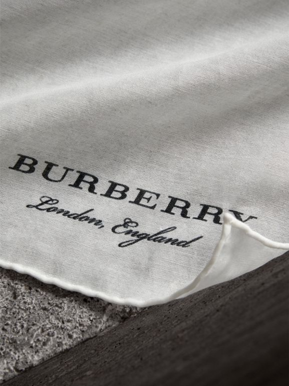 Cotton Silk Pocket Square in White - Men | Burberry - cell image 1
