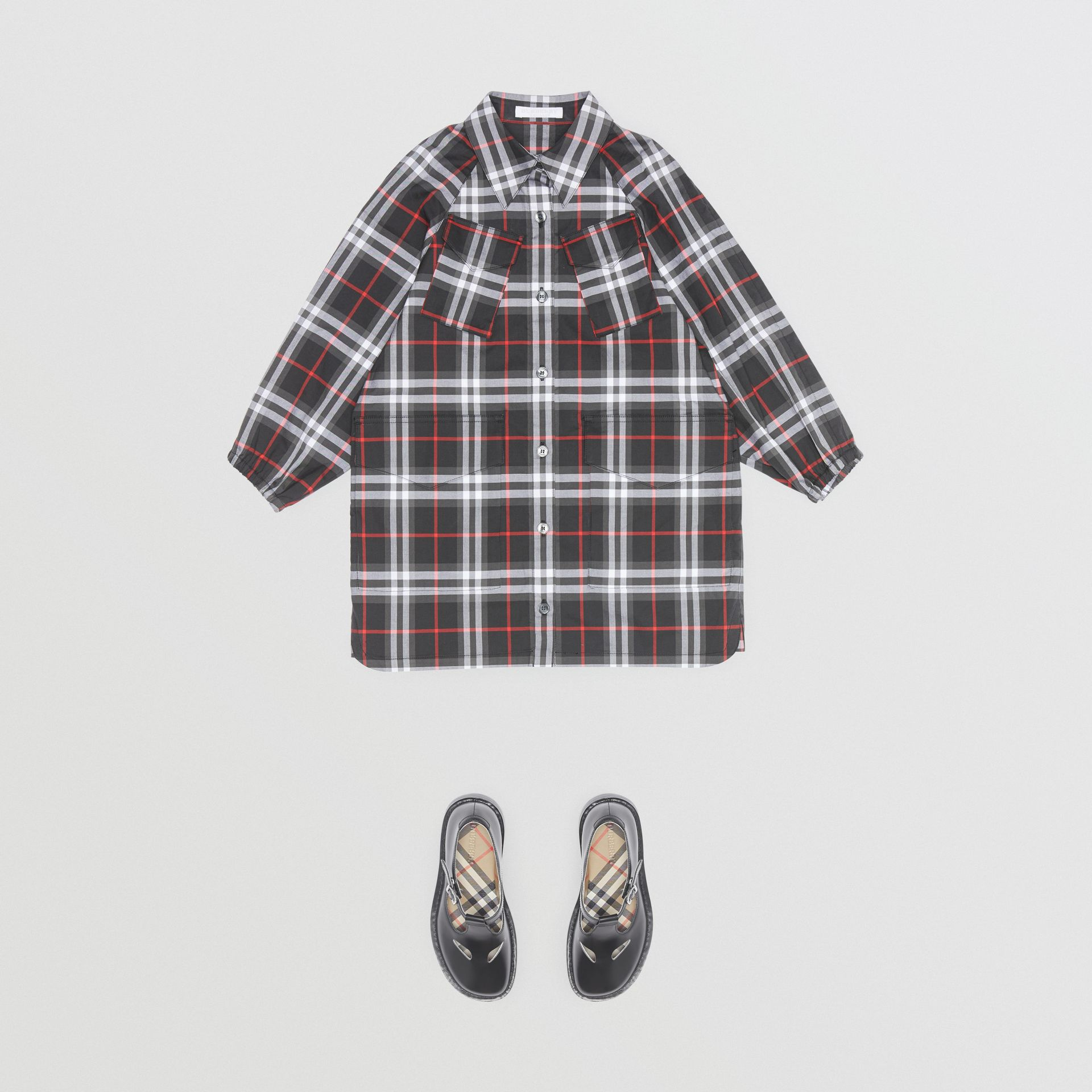 Vintage Check Cotton Shirt Dress in Black | Burberry United States - gallery image 3