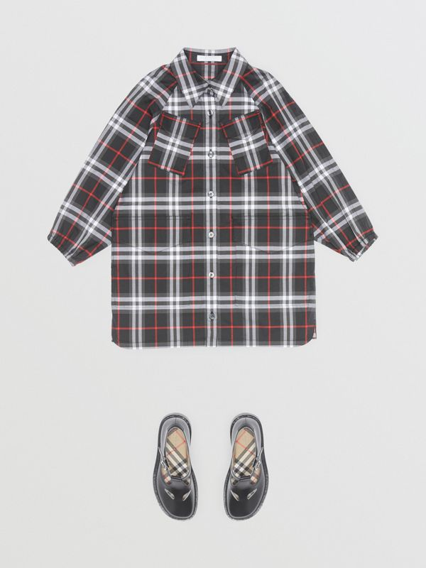Vintage Check Cotton Shirt Dress in Black - Children | Burberry - cell image 3