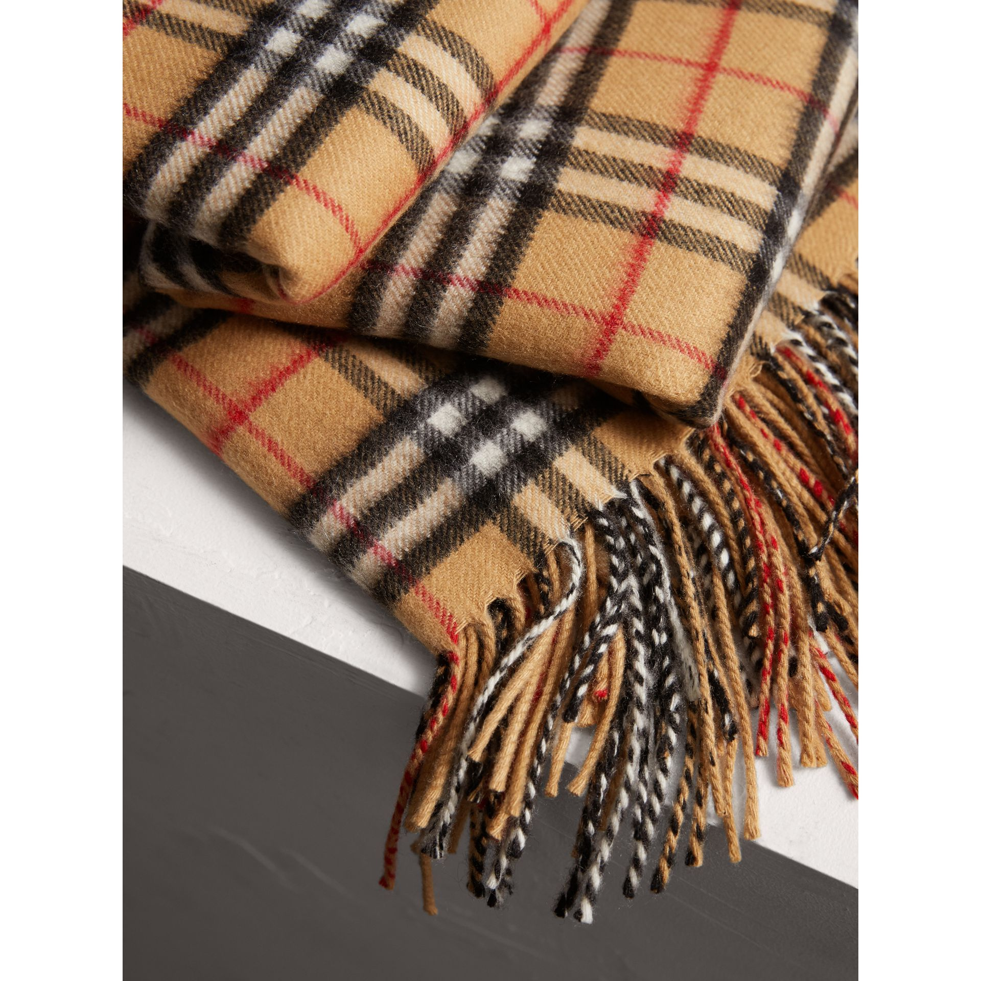 Vintage Check Cashmere Blanket in Antique Yellow | Burberry Australia - gallery image 1