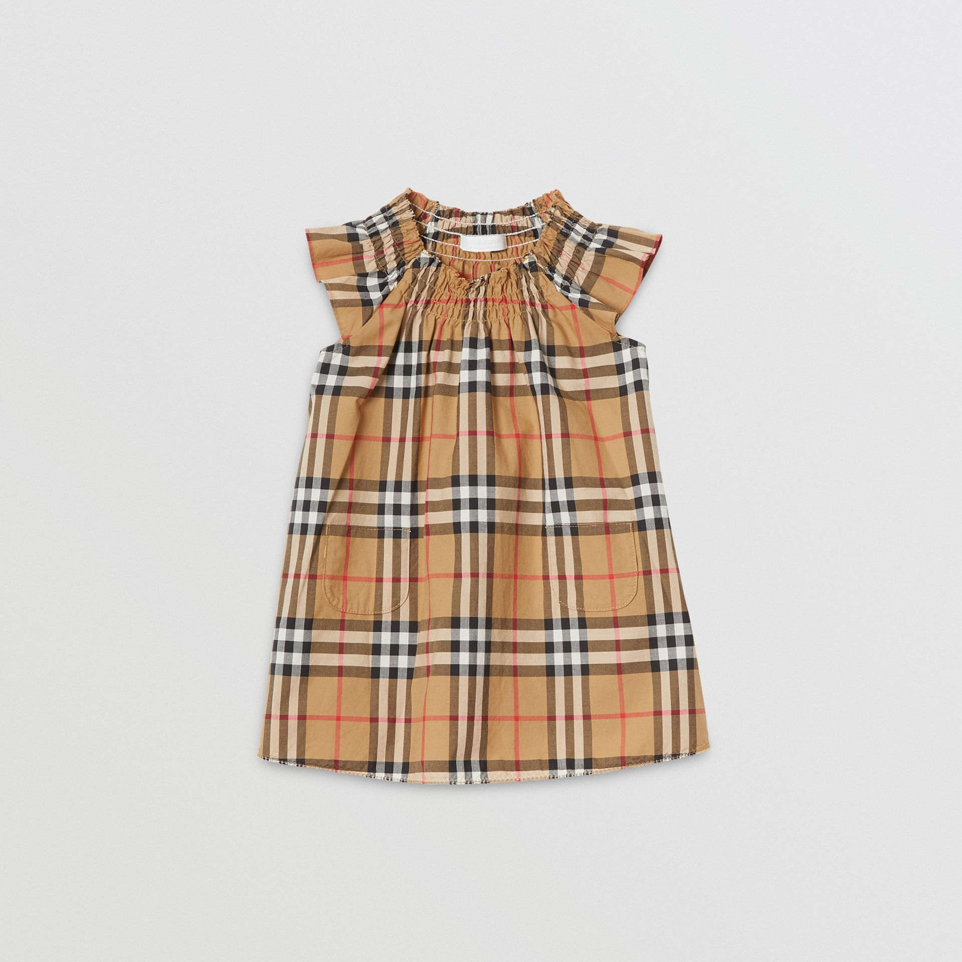 Smocked Vintage Check Cotton Dress in Antique Yellow - Children | Burberry - gallery image 0