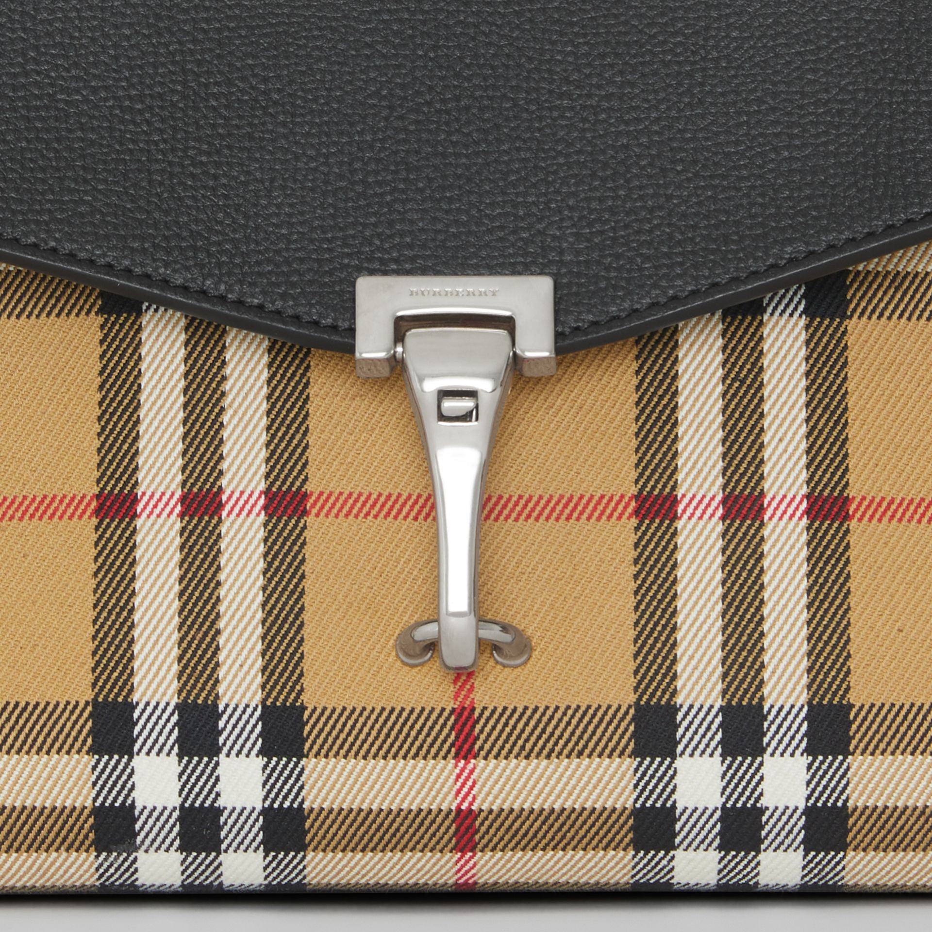 Small Vintage Check and Leather Crossbody Bag in Black - Women | Burberry Australia - gallery image 1