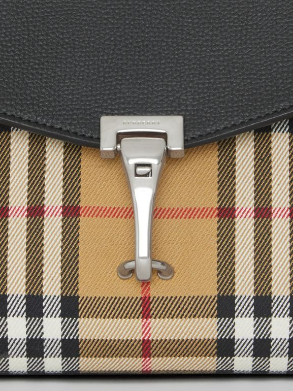 Small Vintage Check and Leather Crossbody Bag in Black - Women | Burberry Australia - cell image 1