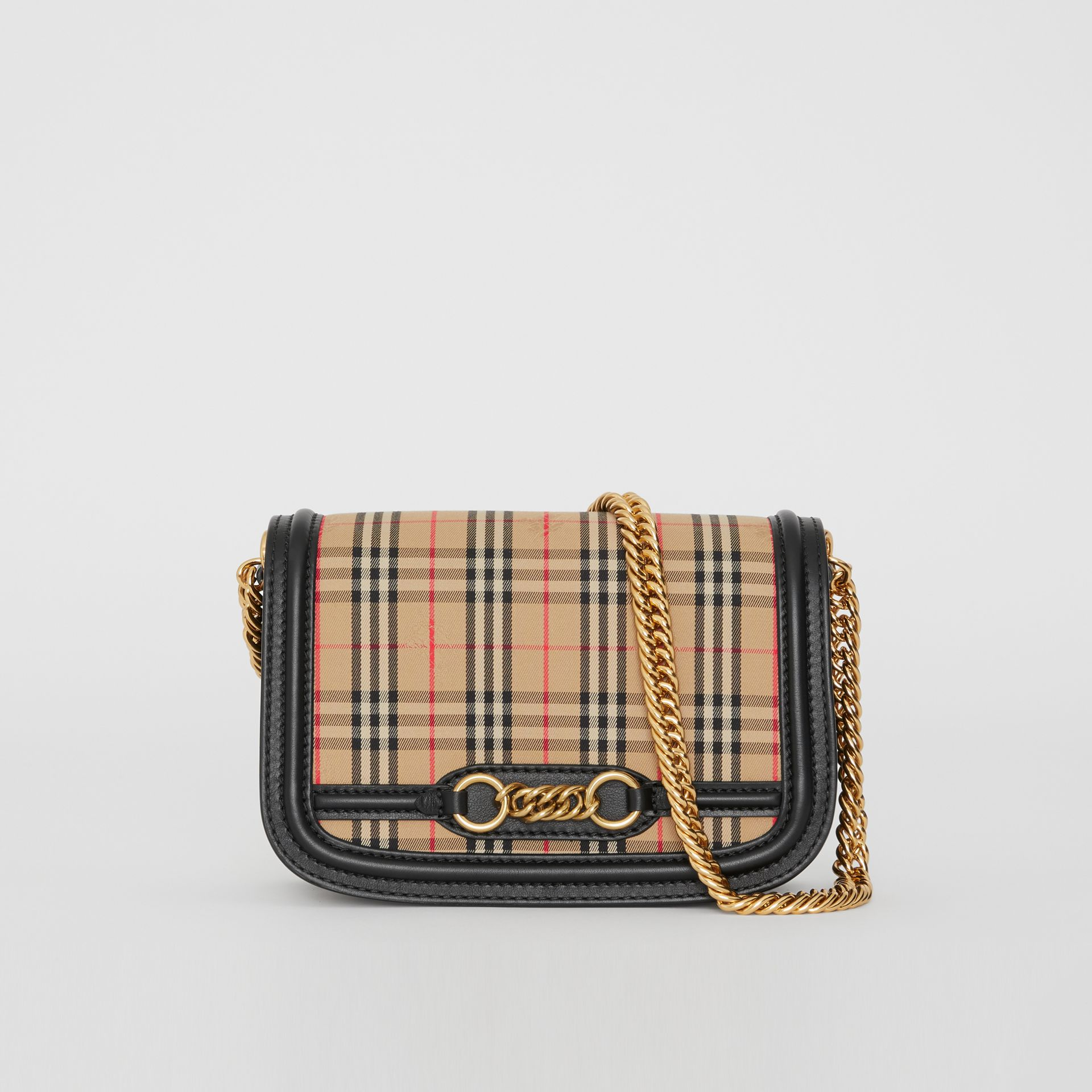 The 1983 Check Link Bag with Patent Trim in Black - Women | Burberry - gallery image 0