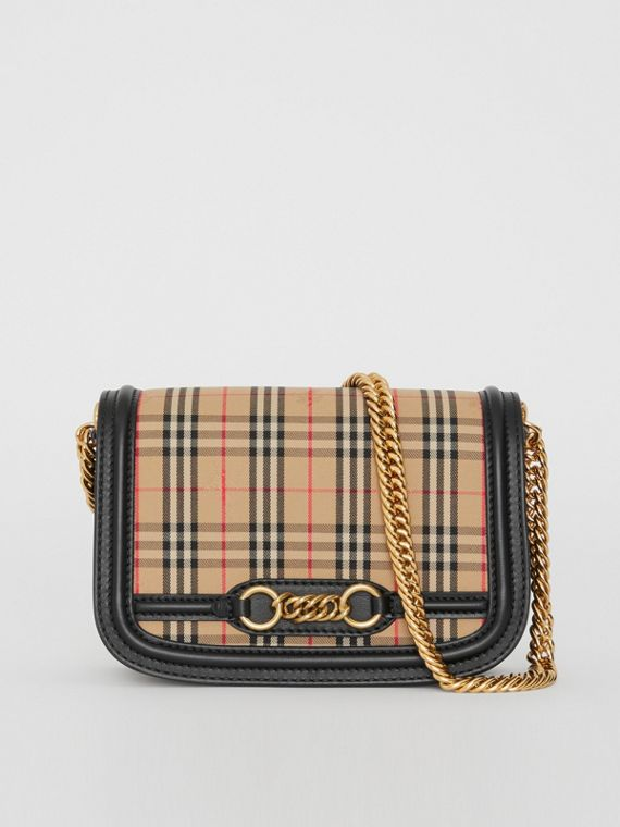 The 1983 Check Link Bag with Patent Trim in Black