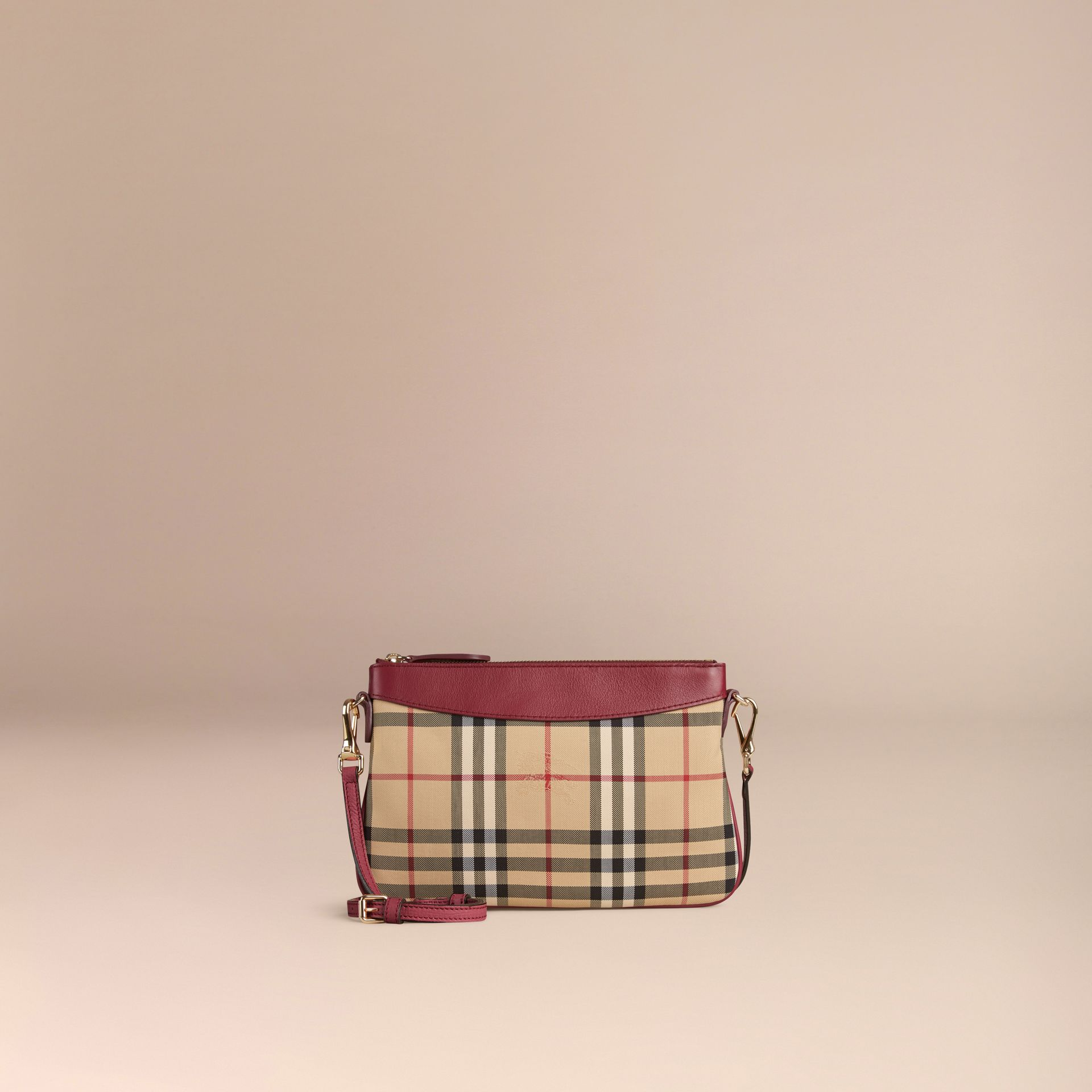 Dark plum Horseferry Check and Leather Clutch Bag Dark Plum - gallery image 7