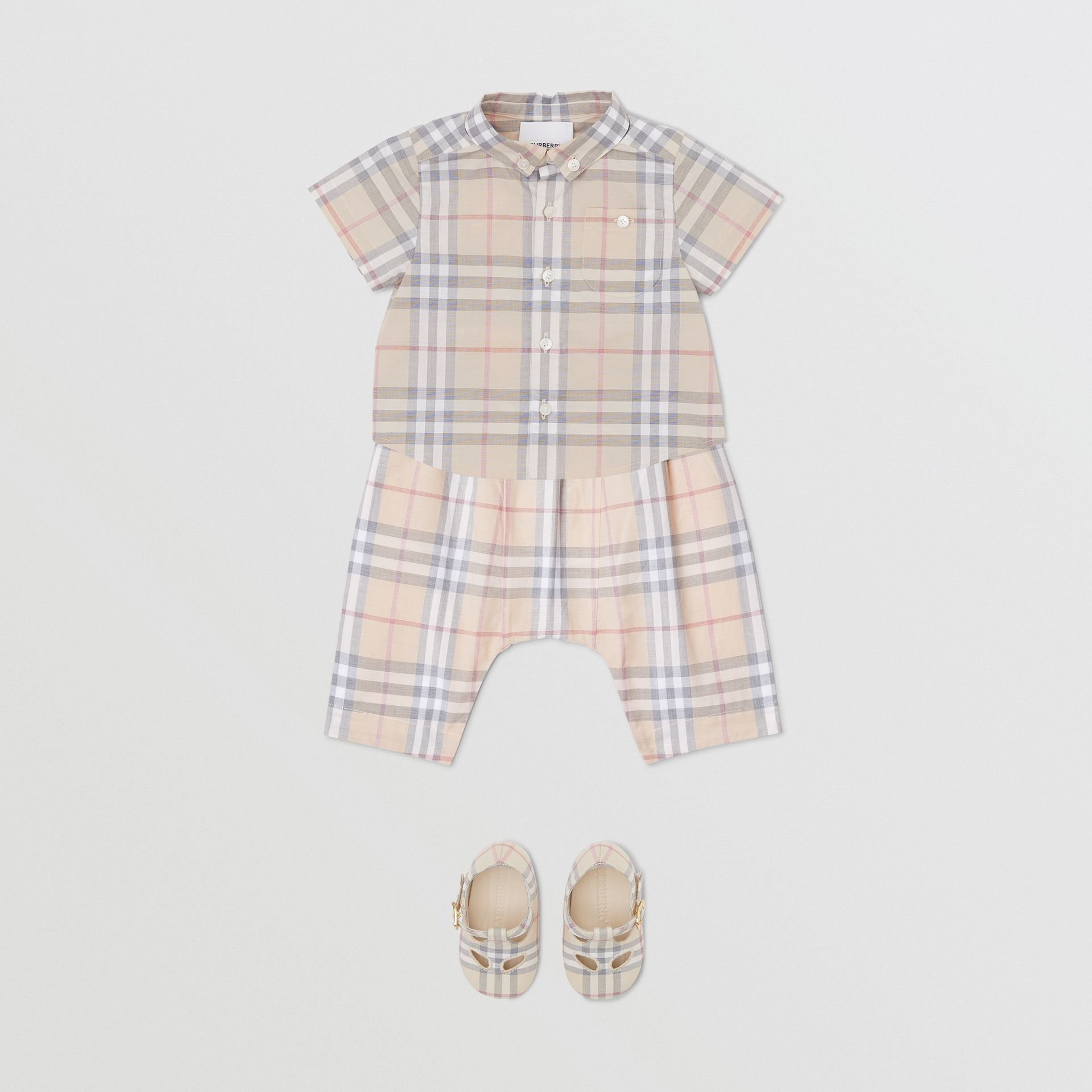Button-down Collar Short-sleeve Check Cotton Shirt in Pale Stone - Children | Burberry United Kingdom - gallery image 2