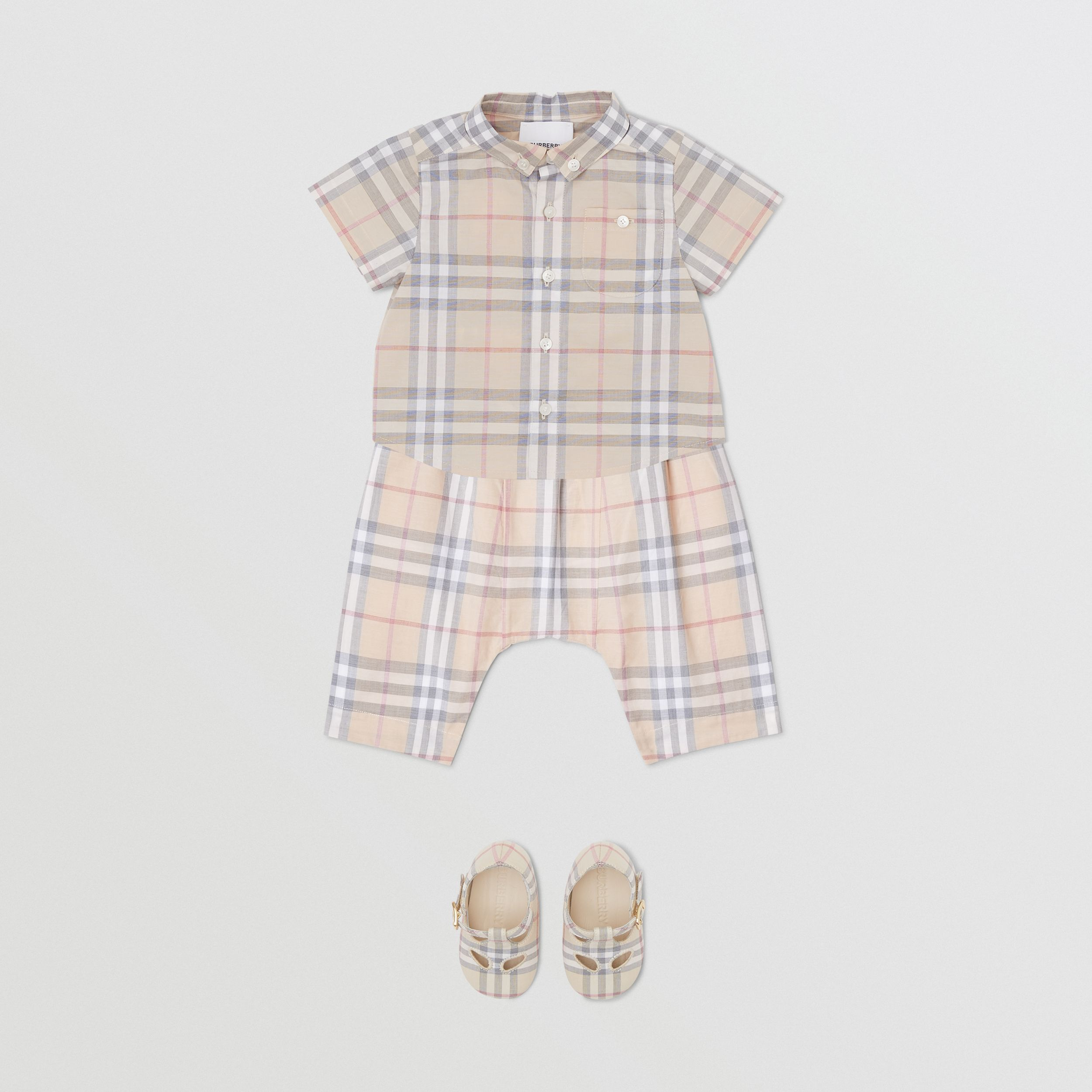 Button-down Collar Short-sleeve Check Cotton Shirt in Pale Stone - Children | Burberry United States - 3