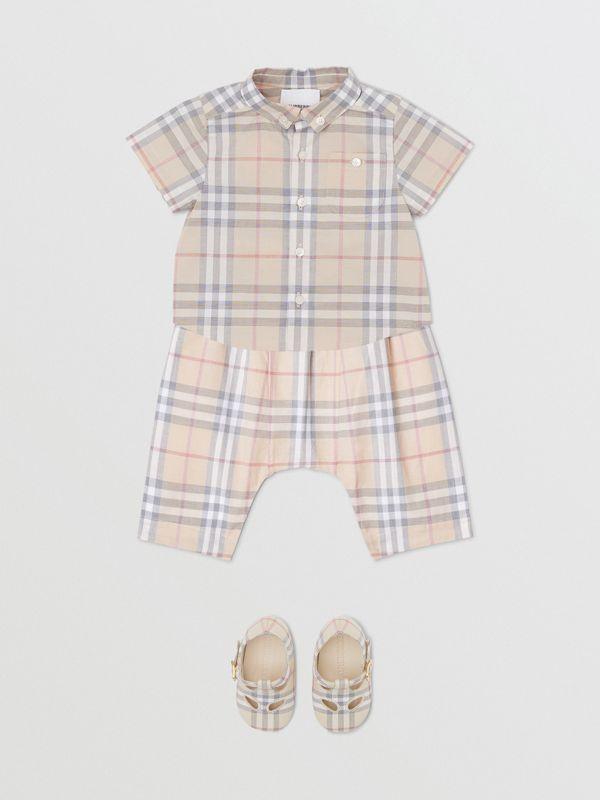 Button-down Collar Short-sleeve Check Cotton Shirt in Pale Stone - Children | Burberry United Kingdom - cell image 2