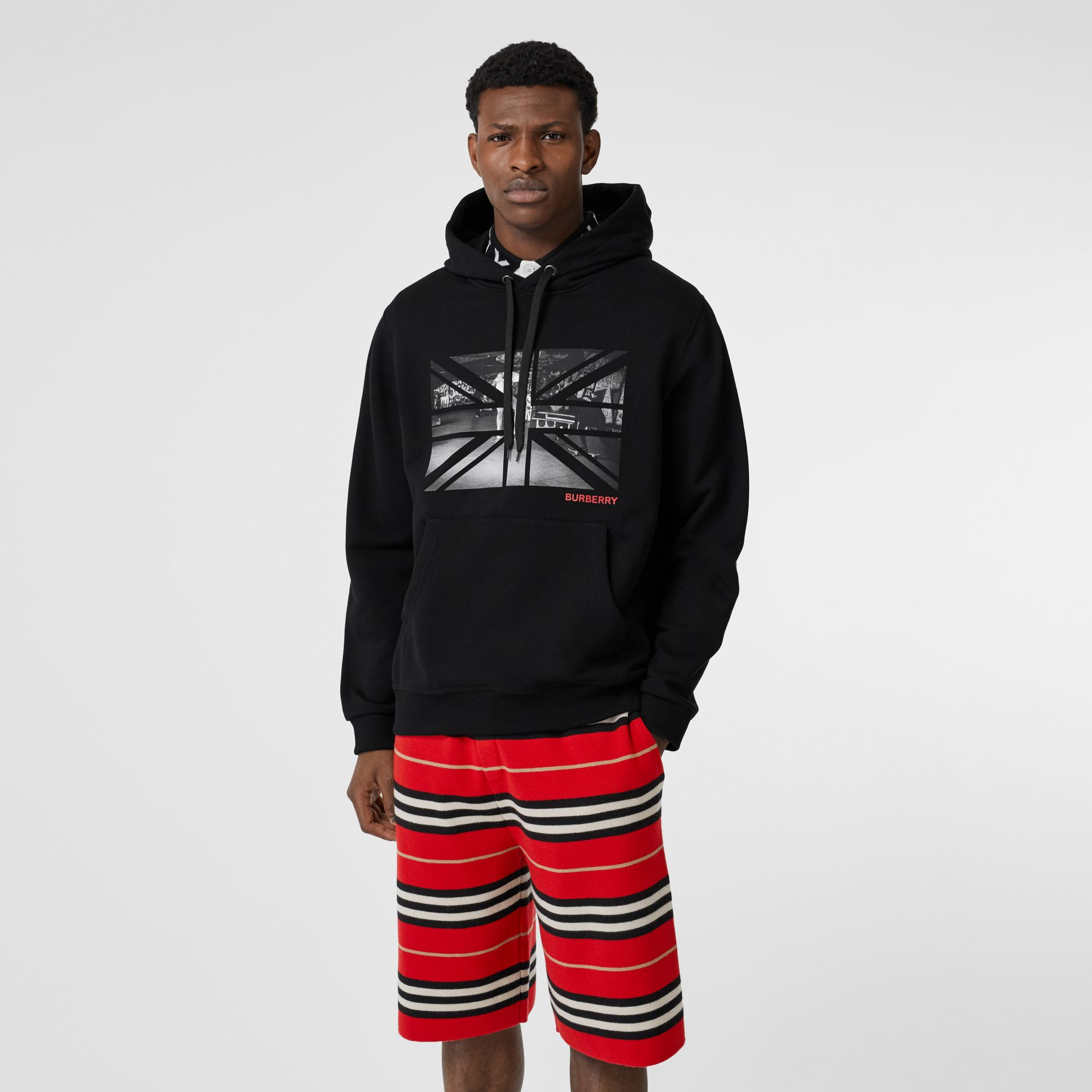 Union Jack Photo Print Cotton Hoodie in Black - Men | Burberry - gallery image 3