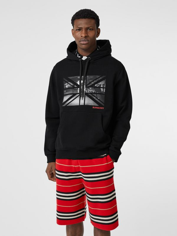 Union Jack Photo Print Cotton Hoodie in Black - Men | Burberry - cell image 3