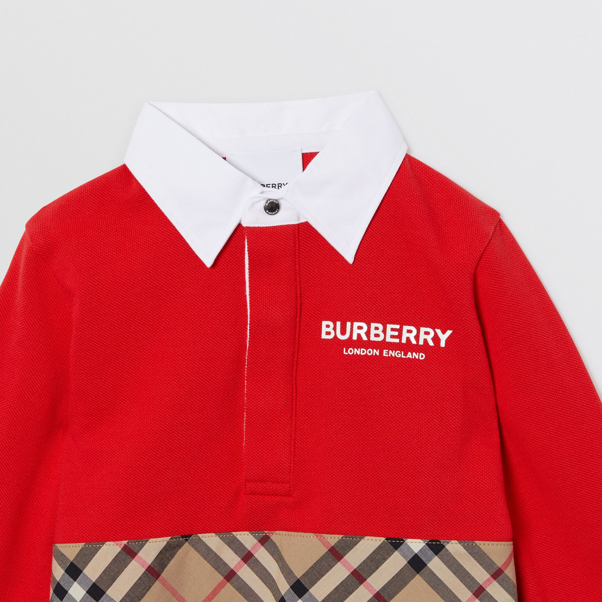 Long-sleeve Vintage Check Panel Cotton Polo Shirt in Bright Red - Children | Burberry - gallery image 4