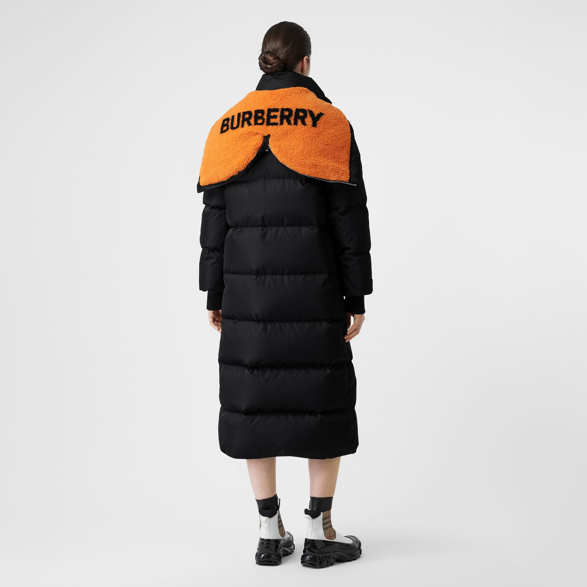 Logo Detail ECONYL® Puffer Coat in Black/orange - Women | Burberry Australia - gallery image 2