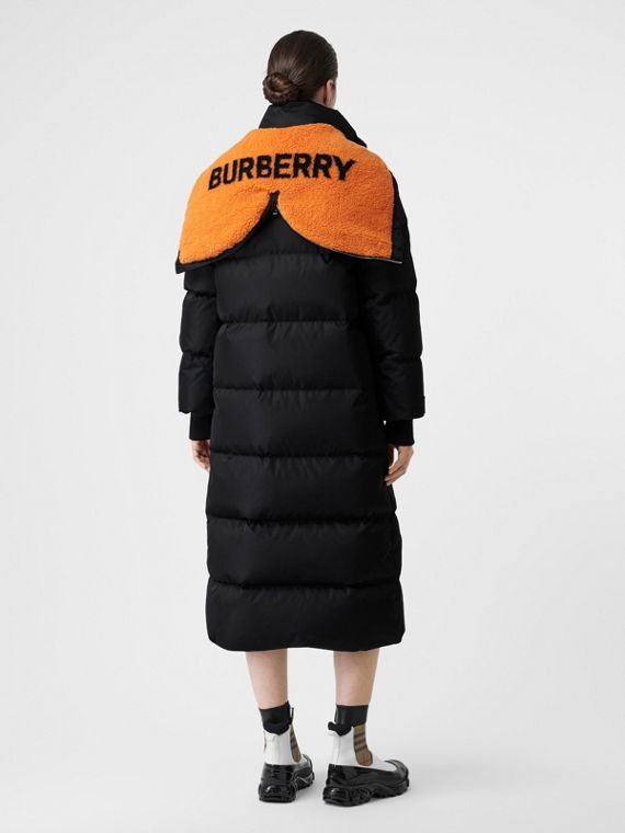 Logo Detail ECONYL® Puffer Coat in Black/orange