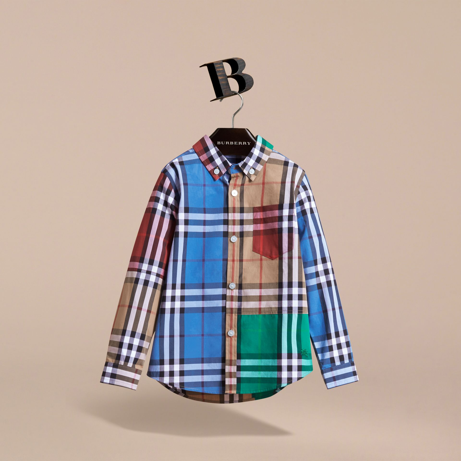 Colour Block Check Cotton Twill Shirt in Camel - Boy | Burberry - gallery image 2