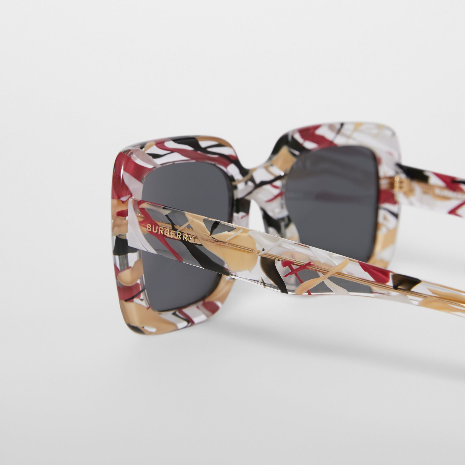 Marbled Check Oversized Square Frame Sunglasses in Lacquer Red - Women | Burberry - gallery image 1