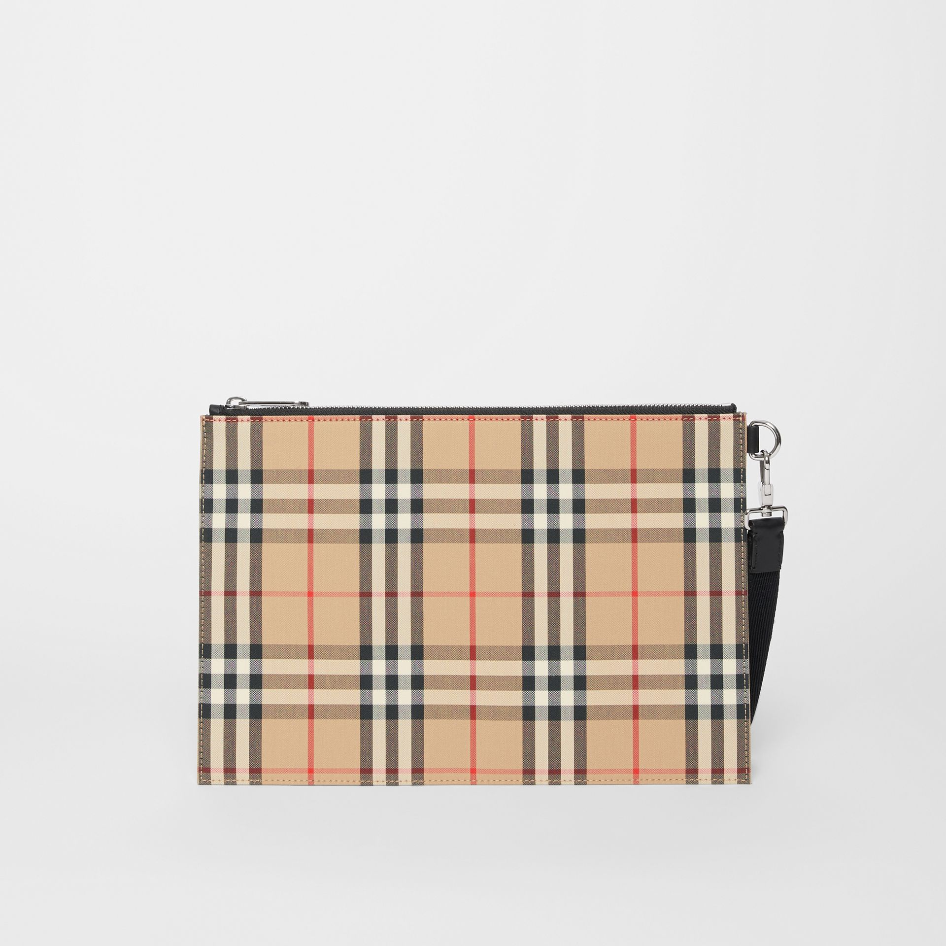Vintage Check Cotton Zip Pouch in Archive Beige | Burberry - gallery image 7