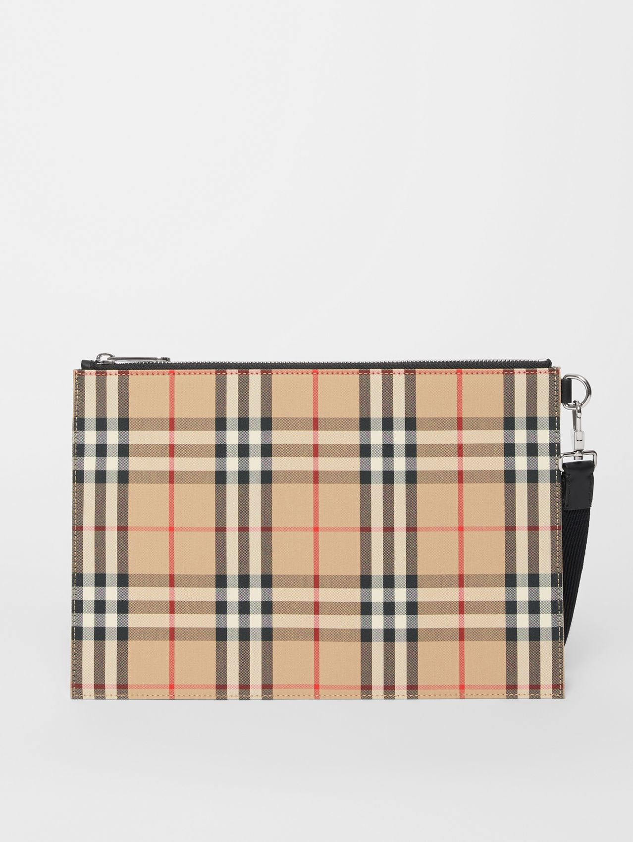 Vintage Check Cotton Zip Pouch in Archive Beige