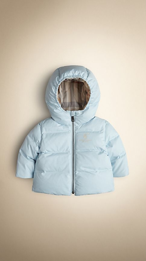 Porcelain blue Check-Lined Puffer Jacket - Image 1