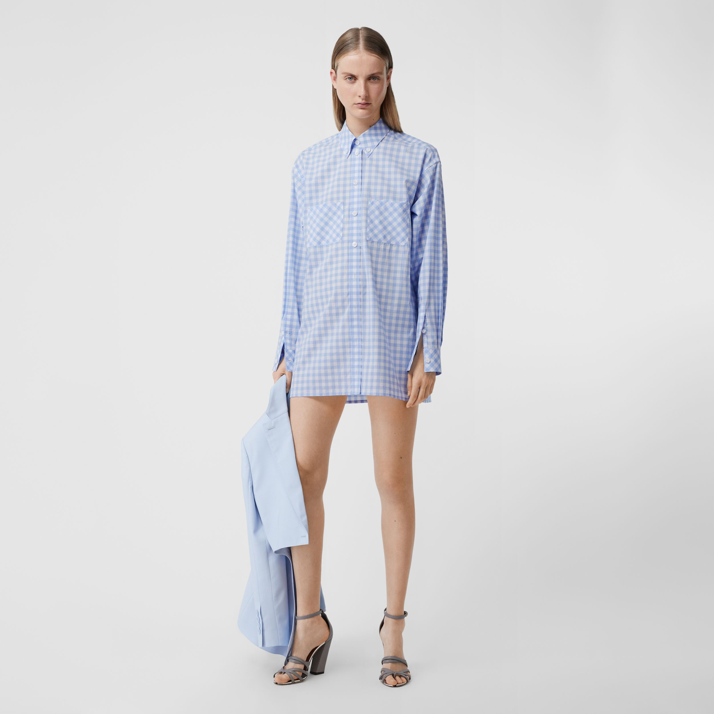 Gingham Cotton Poplin Shirt Dress in Pale Blue - Women | Burberry - 1