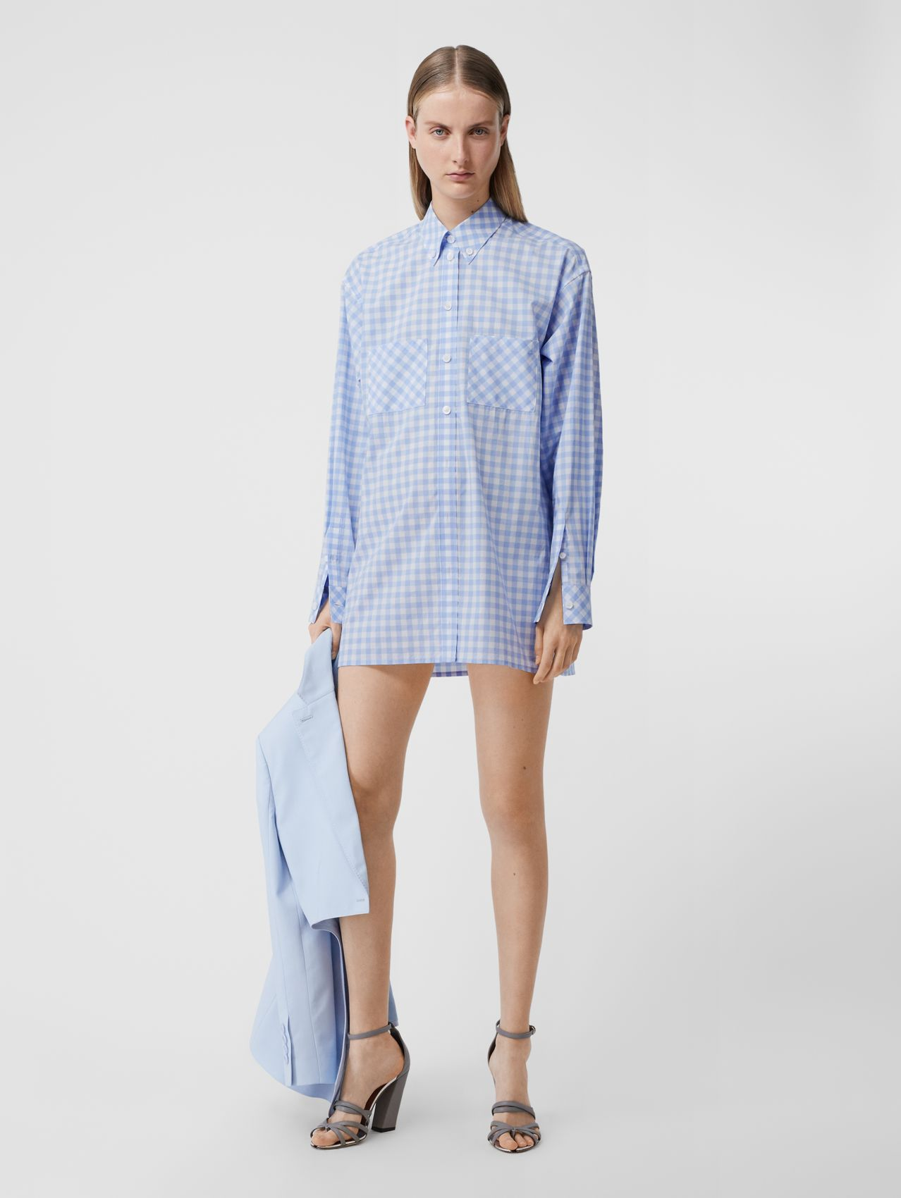 Gingham Cotton Poplin Shirt Dress in Pale Blue