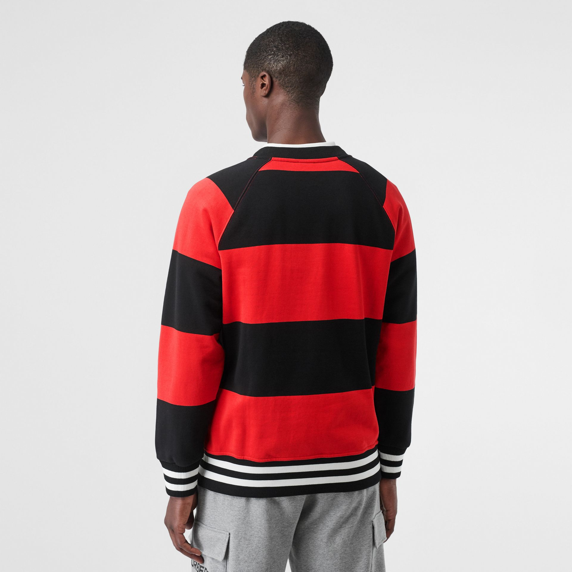 Rugby Stripe Cotton Sweatshirt in Bright Red - Men | Burberry - gallery image 2