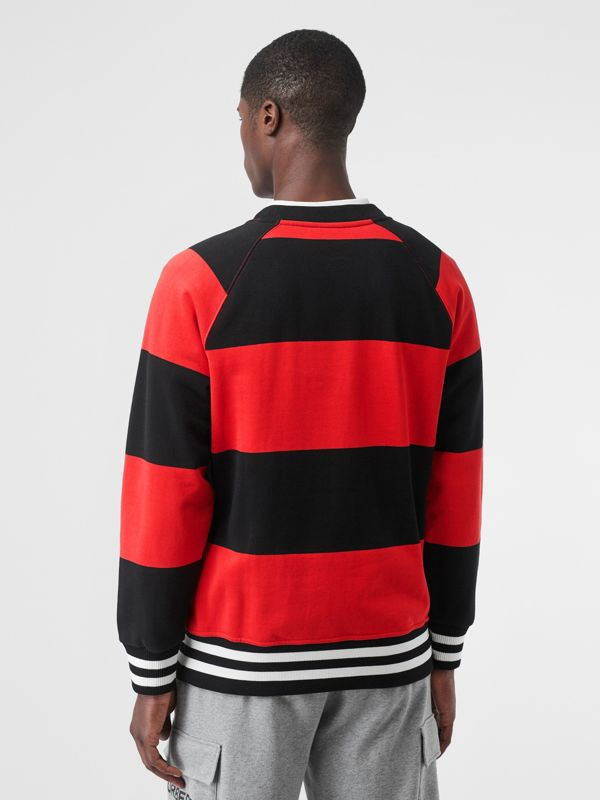 Rugby Stripe Cotton Sweatshirt in Bright Red - Men | Burberry - cell image 2