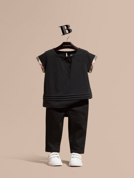 Check Trim Cotton T-shirt Black