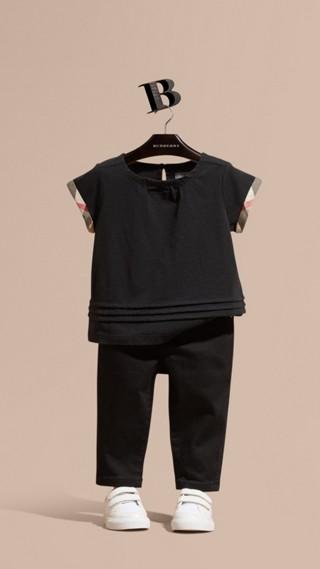 Check Trim Cotton T-shirt