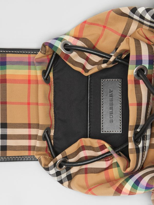The Small Crossbody Rucksack in Rainbow Vintage Check in Antique Yellow - Women | Burberry United Kingdom - cell image 3
