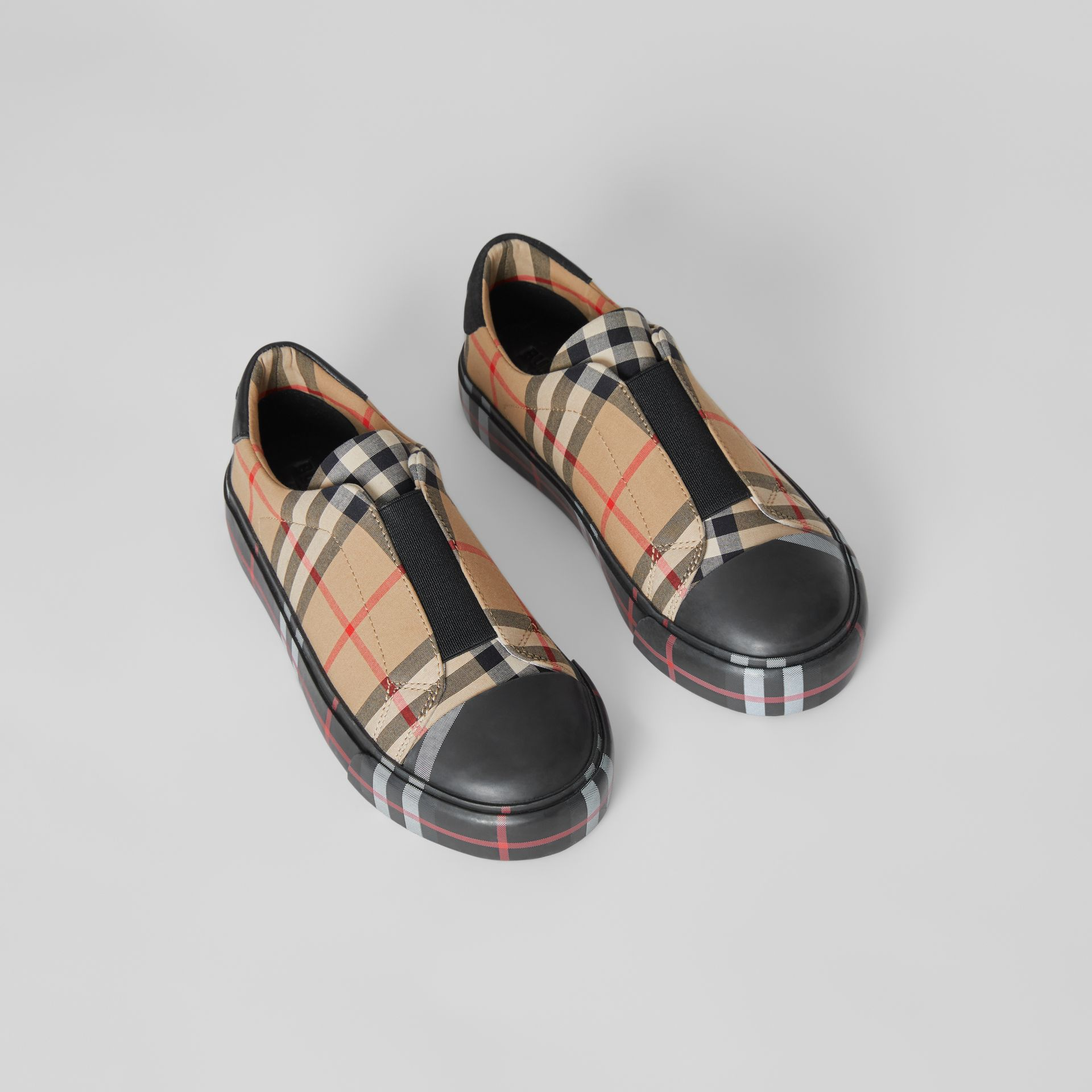 Contrast Check Slip-on Sneakers in Black/archive Beige - Children | Burberry United Kingdom - gallery image 0