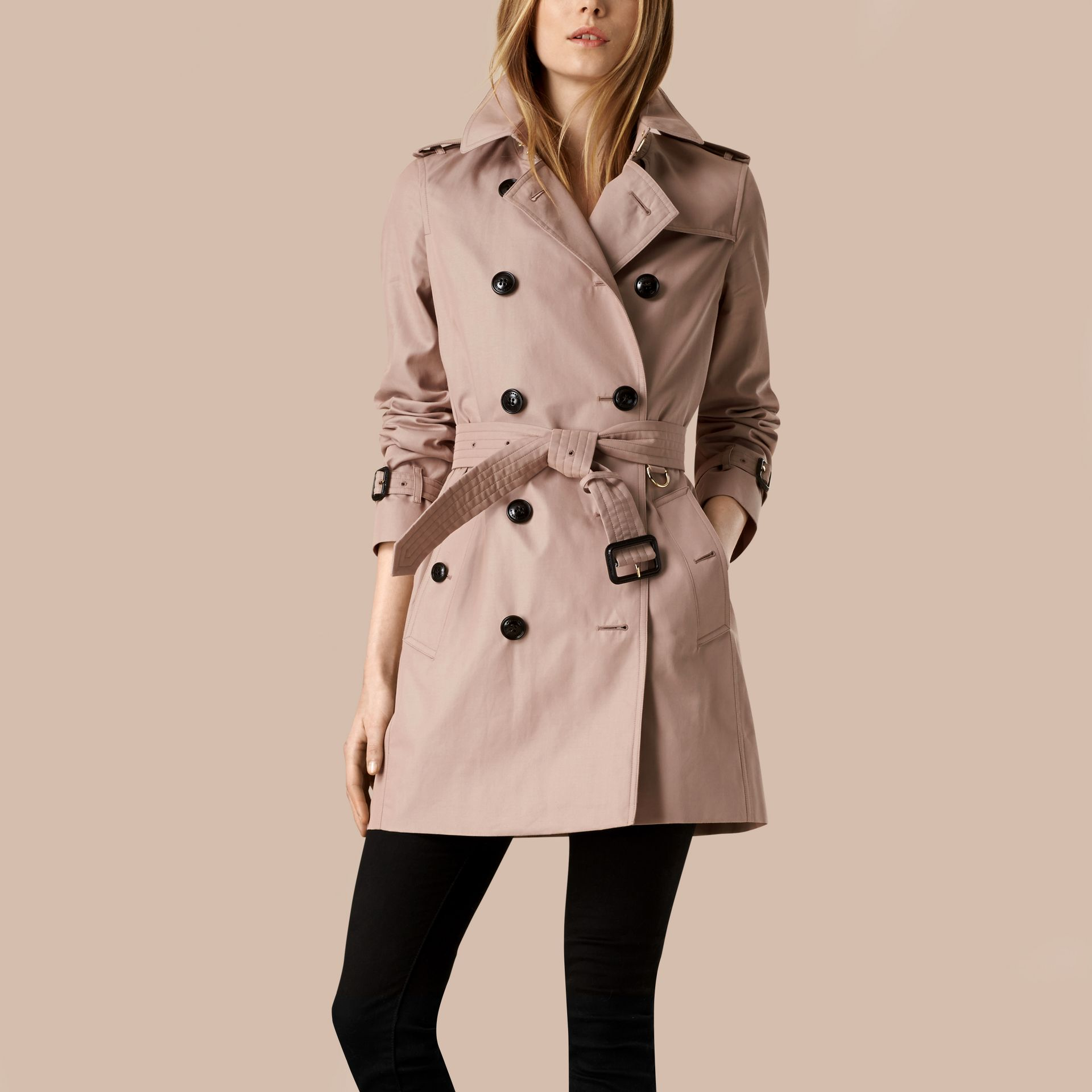 Nude Lightweight Cotton Gabardine Trench Coat Nude - gallery image 1